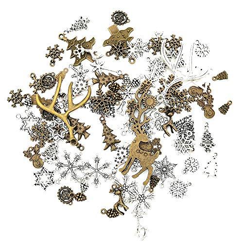 SJUNJIE 80 Stück Mini Weihnachten Anhänger Charms für DIY Basteln Ornamente Armband Schmuck Halskette Ohrringe Bettelarmband Weihnachtsschmuck (Bronze&Silber)
