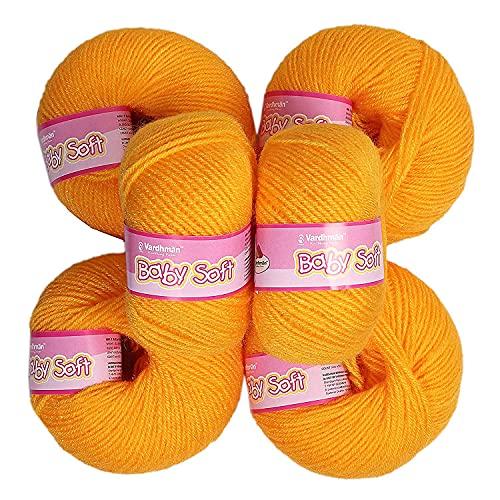 Vardhman Yellow Baby Soft Acrylic Knitting Wool Yellow 150 Grams. Soft Wool Ball Hand Knitting Wool/Art Craft Fingering Crochet Hook Yarn. Sweaters, mufflers, caps, Soft & Thin Wool?¦.