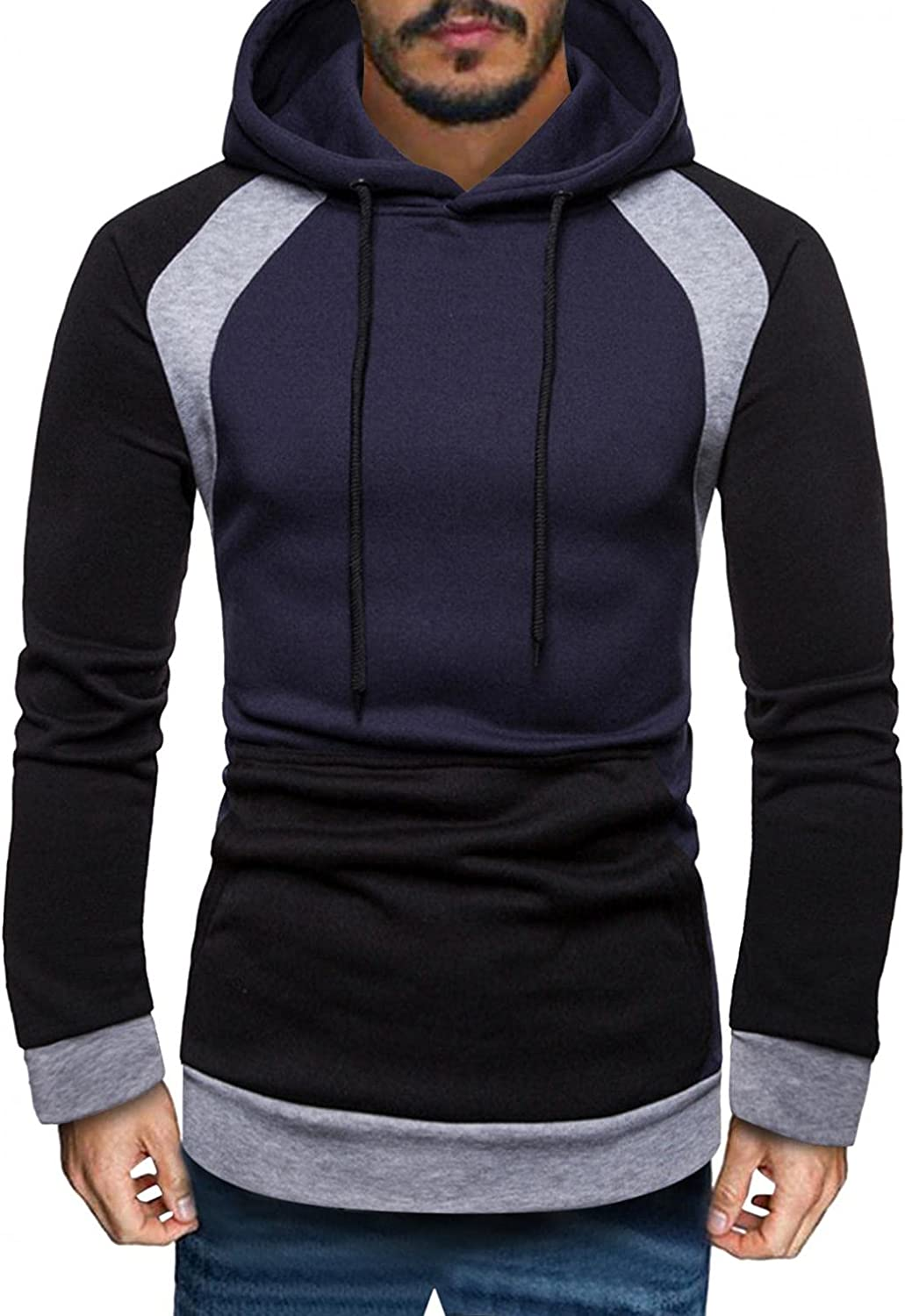 Men's Hoodies Pullover, Mens Autumn Winter Casual Long Sleeve Colorblock Sports Outwear Hooded Sweatshirts Pockets