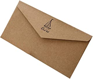 20pcs Retro Brown Invitation Envelopes Kraft Paper Good Luch Greeting Cards for Business, Graduation