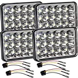Dot Approved 4x6 Inch LED Headlights Hi/Lo Sealed Beam Replace Projector Rectangular H4651 H4652 H4656 H6545 Headlamp Peterbil KW Kenworth Freightinger Ford Probe Chevy Oldsmobile Cutlass 4PCS