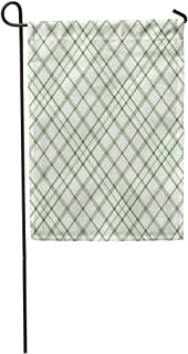 Semtomn Garden Flag Tartan Plaid Pattern Checkered in Taupe Brown Gray White Home Yard House Decor Barnner Outdoor Stand 28x40 Inches Flag