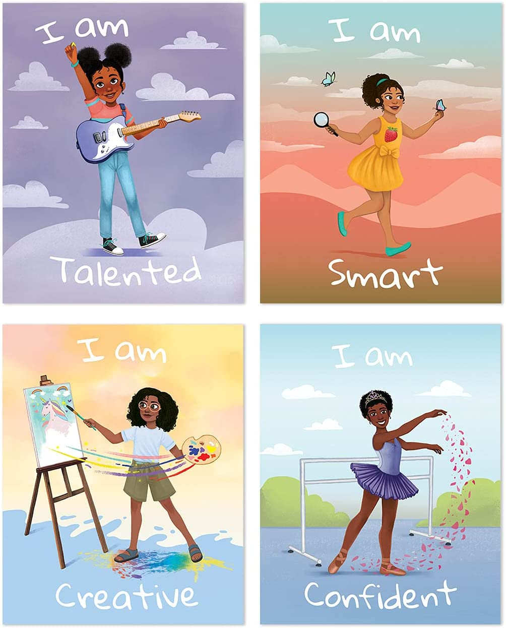 Girl Room Decor, Motivational Black Girl Wall Art, 4 Inspirational Posters for Girls, Positive Kids Wall Decor, Children Bedroom Decoration (8