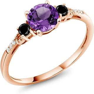 0.87 Ct Round Purple Amethyst Black Diamond 10K Rose Gold Ring (Available 5,6,7,8,9)