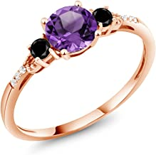 Gem Stone King 0.87 Ct Round Purple Amethyst Black Diamond 10K Rose Gold Ring (Available 5,6,7,8,9)