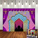 Art Studio 7x5ft Arabian Nights Magic Genie Theme Photography Backdrop Moroccan Birthday Party Decor Banner Gold Glitter Indian Bollywood Princess Girl Sweet 16 Photo Background Booth Studio Props