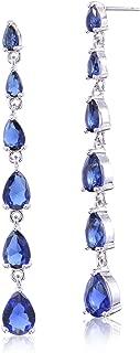 CZ Linear Earrings for Women Sterling Silver Multi Teardrop Cubic Zirconia Long Linear Drop Post Earrings Crystal Bridal Wedding Prom Party Dangle Earrings for