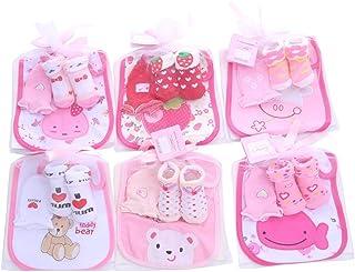 VIccoo, VIccoo Calcetines, 1 Bolsa de Baberos de algodón para bebés, Juegos de Toallas Nacidos para niños, eructos, paños + + Guantes antiarañazos, niños, niñas, Regalo de cumpleaños - Niña