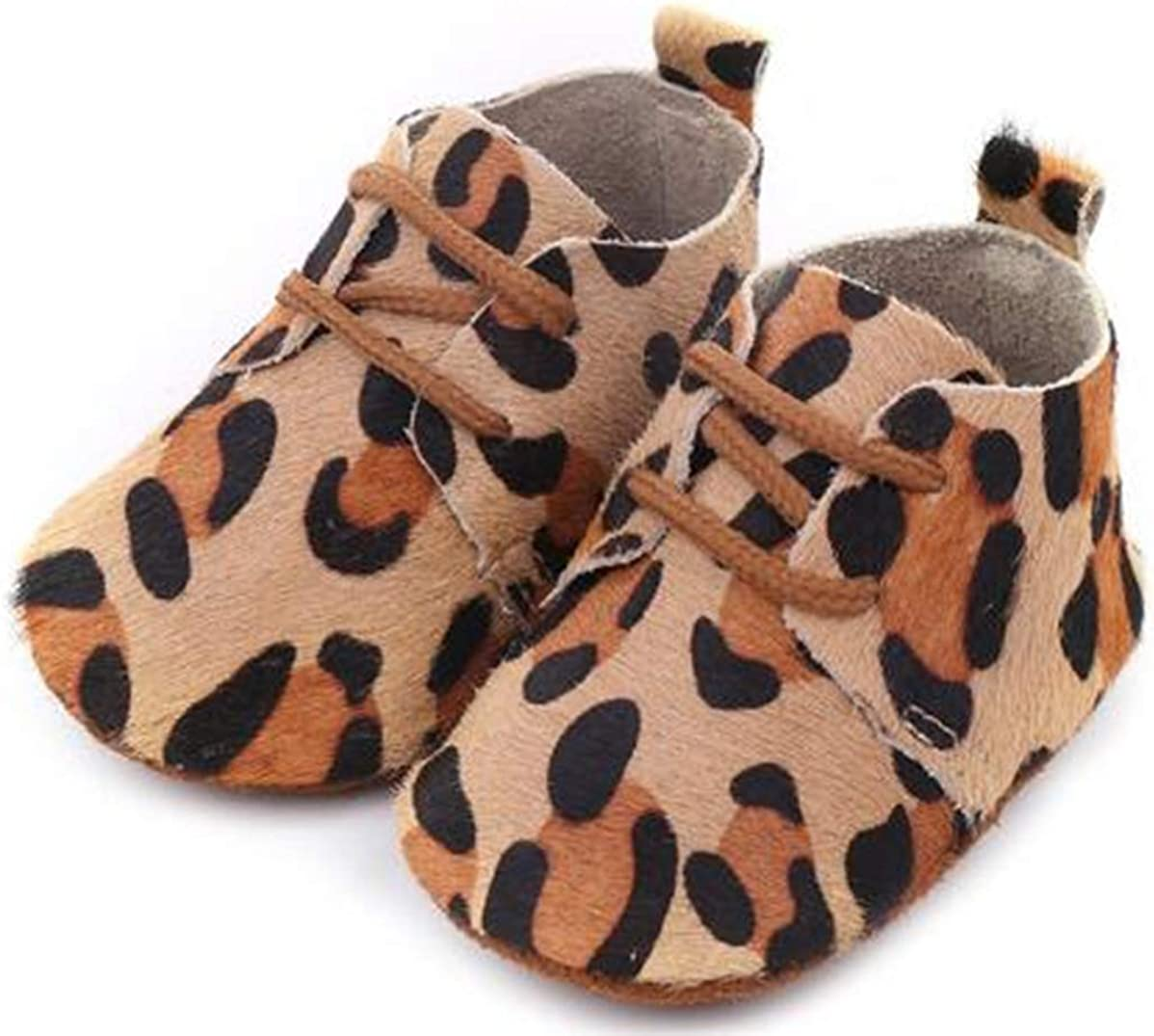 Bebila Baby Oxford Shoes - Leopard Printing Genuine Leather Toddler Moccasins for Boys and Girls