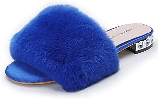 Women's Flat Fur Slippers Ladies Sandals Leather Peep Toe Slide Mules Shoes with Low Heel