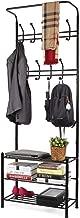 House Of Quirk 18 Hooks Coat Rack With 3-Tier Shoe Rack Shelves - Metal Black