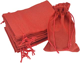 Bezall 20pcs Drawstring Burlap Jute Sacks Jewelry Candy Pouch Christmas Wedding Party Favor Gift Bags (Red, 2.7 x 3.5