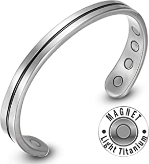 Rainso Mens Womens Light Titanium Magnetic Therapy Golf Bracelets Bangle for Arthritis Wristband Adjustable