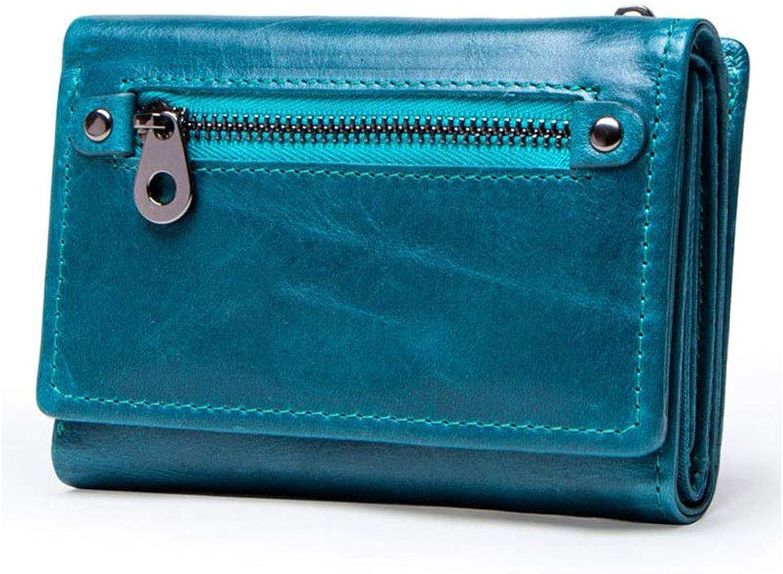 Women's Wallet Fashion Casual Short Leather Wallet MultiCard Leather Handbag (color   bluee)