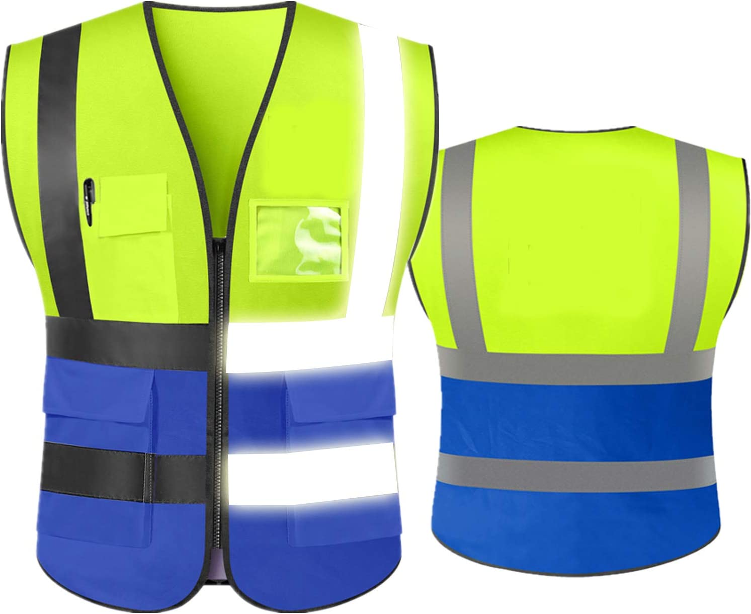 High Max 75% OFF Visibility Safety Reflective Vest Pockets with C quality assurance Zipper and