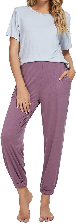 Generic Pajamas for Women Long Sleeve Top and Pants with Pockets 2 Piece Sleepwear Pjs Sets Sleep Wear Ladies