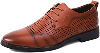 XueQing Pan Oxford Shoes for Men Microfiber Leather Business Dress Dating Anti-Slip Flat Lace Up Perforated Cozy Breathable Low Top Vegan (Color : Brown, Size : 8.5 UK)