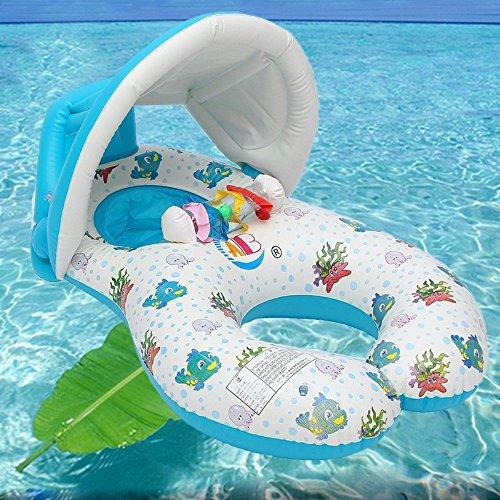 Flotador inflable para bebé con anillo de natación para bebé Mommy and Me Flotador de piscina con sol extraíble para entrenamiento de natación, flotador seguro para bebé con asiento caído (blanco)