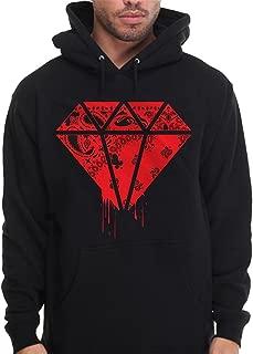 Diamond Shape Bandana Hoodie Pullover Sweatshirt Red Rag Print Drip Blood Money