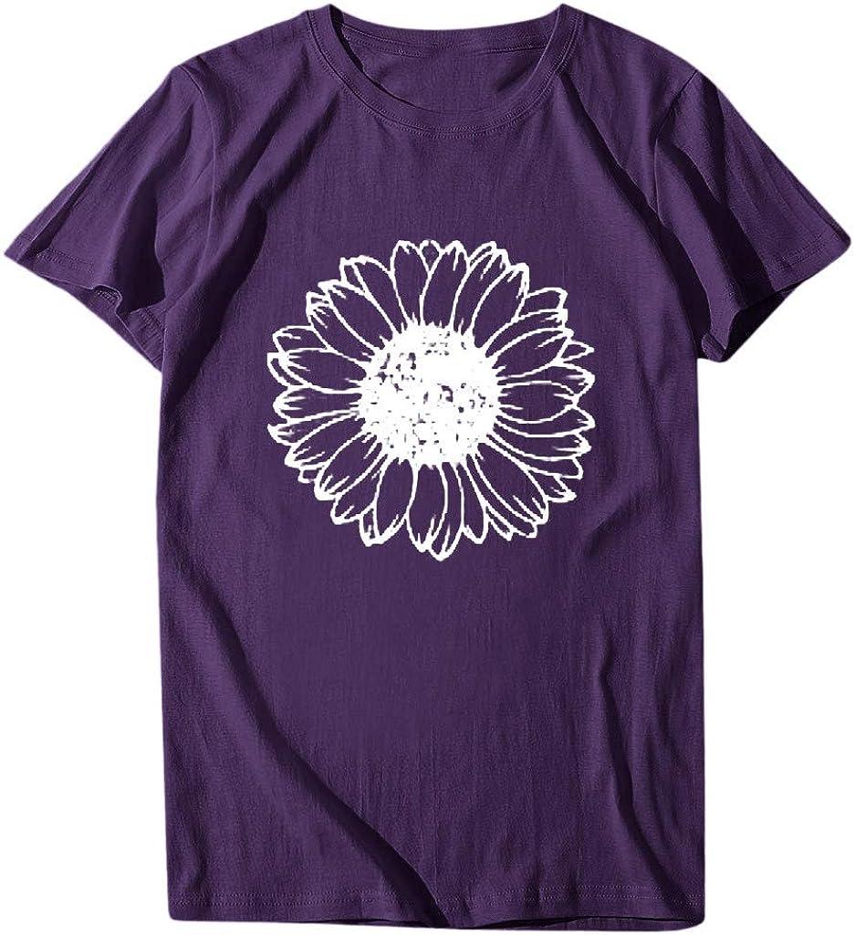 Women's Short Sleeve T-Shirt Casual Sunflower Printing Crewneck Loose Fashion Sport Summer T-Shirt Blouse Tops