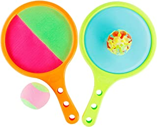Toss Game Catch Ball 2 in 1 Paddle with Sticky Ball and Suction Cup Ball Sport Toys Play Set Outdoor Indoor Yard Beach Camping Party Gift for Kids Adults Toddlers Girls Boys Age 3 4 5 6 7 8 Years