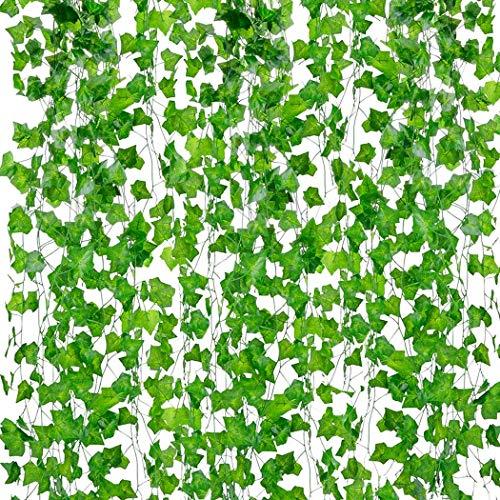 Kunstbloemen groen nep opknoping wijnstokken bladeren slinger opknoping voor bruiloft partij tuin buiten kantoor muur decoratie 10 strengen