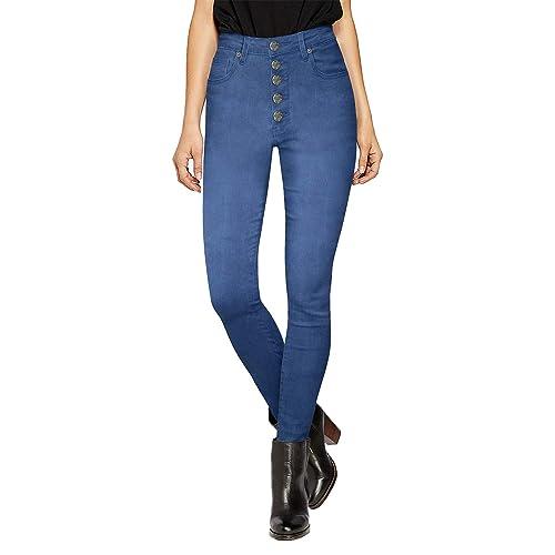 9b0c7de4f10 HyBrid & Company Womens Super Stretch 5 Button High Waist Skinny Jeans
