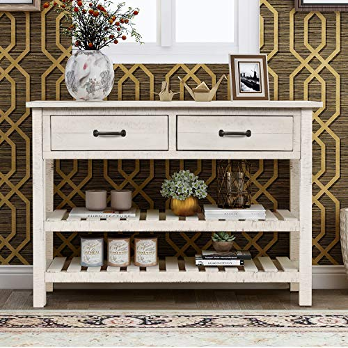 """HOMMOO Retro 45"""" L Console Table with 2 Drawers and 2 Bottom Shelves Hallway Entryway Sofa Side Table for Living Room Home Decor (White)"""