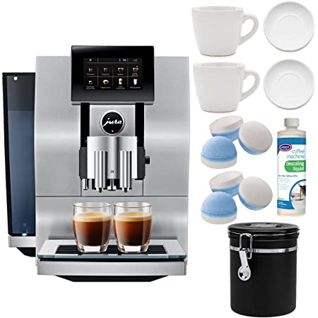 Jura Z8 Automatic Coffee Machine with Descaling Liquid, 2 Cup and Saucer Sets and Coffee Canister Bundle (6 Items)