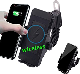 Wireless Motorcycle Phone Charger,ONGHSD Motorcycle Cell Phone Holder with Charger,10W for Samsung Galaxy S10/S10+/S10E/S9/S9+/S8/S8+,5W for iPhone XR/Xs Max/XS/X/8/8 Plus and More (Without USB Port)