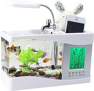 USB stationära akvarier fiskbehållare, multifunktionell mini fisktank, lätt vattenpump, pennhållare, väckarklocka, kalende...