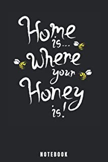 Home Is Where Your Honey Is!: Bee Notebook and Journal - Blank Wide Ruled Pages - Funny Bee Accessorie and Merch for Insec...