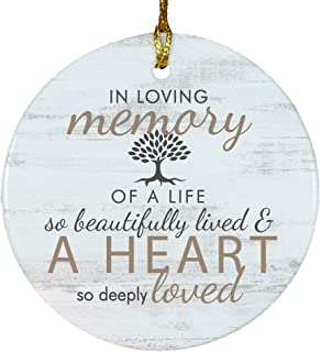 GiftsForYouNow Memorial Tree Round Ceramic Ornament, Glossy, 2.75 Inch, Includes Gold Ribbon and Black Velvet Gift Bag, Memorial Christmas Ornament