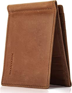 BOSTANTEN Men's RFID Blocking Wallet Genuine Leather Slim Trifold Wallets Minimalist Card Holder with 2 Money Clips