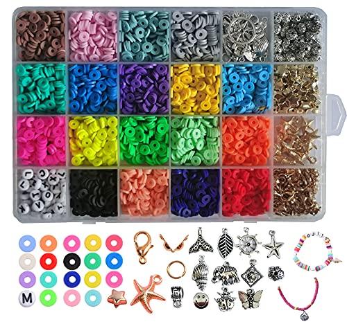 Juego de cuentas para enhebrar pulseras y cadenas. Set para hacer collares para adultos, kit de joyas para manualidades, perlas de arcilla polimérica, regalo creativo para adultos y niños