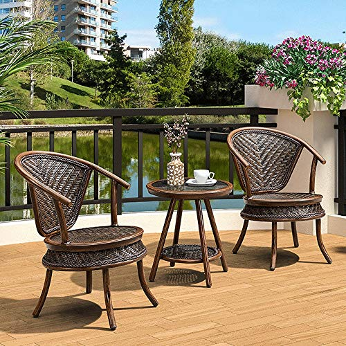 Bqy rotan rieten houten stoel 2 stks outdoor of indoor natuurlijke rotan rieten handgemaakte ontwerp alle weerbestendig C