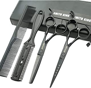 6.0 Inches Hair Cutting Scissors Set with Combs Lether Scissors Case,Hair cutting shears Hair Thinning shears For Personal and Professional (Matt black)