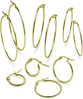 Stainless Steel Hoop Earrings Five Pair Set for Women Girls 10mm 20mm 30mm 40mm & 50mm Available Colors