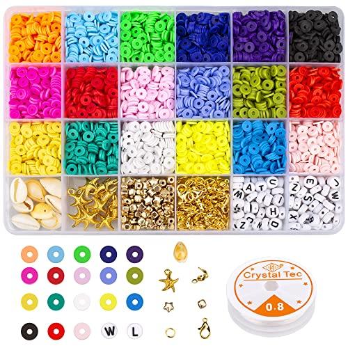 Adhope - Kit di perline piatte in argilla polimerica Heishi con cordino elastico, per gioielli, bracciali, collane, orecchini, fai da te, 6 mm