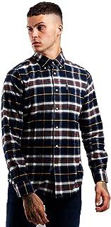 Barbour BACAM1788-MSH Highland Chek 13 Camiseta Tail Camisa de franela de algodón 100% Regular Fit Hombre Azul Tartan Check