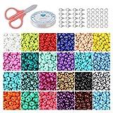 Cuentas de Colores para Los niños 24000 Piezas,3mm Mini Cuentas 24 Colores de Vidrio Perlas de Potro para Hacer Joyas Collares Pulseras Pendiente Bisutería Regalo DIY