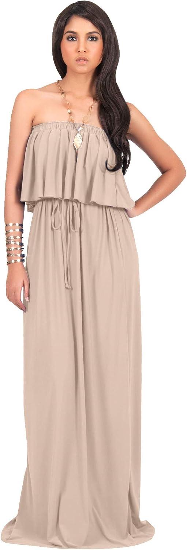 Koh Koh Womens Long Evening Summer Sexy Flowy Beach Strapless Maxi Dress