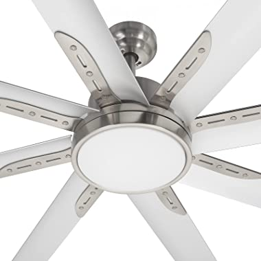 hykolity 72 Inch Damp Rated Industrial DC Motor Ceiling Fan W/ LED Light, Reversible Motor and Blade, ETL Listed Indoor Ceili