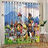 DONEECKL Cortina de fondo para decoración de dormitorio, diseño de patrulla canina, cortinas deslizantes para decoración de patio, 137 x 96 cm, ojales en la parte superior