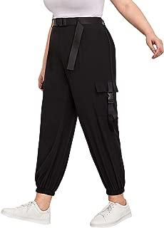 Women's Plus Size Sport Elastic Waist Drawstring Cargo Capris Pants