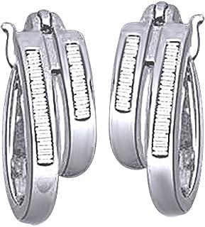 Orecchini a cerchio per donne e ragazze in argento Sterling 925 con taglio baguette, con diamante naturale bianco (1/5 car...