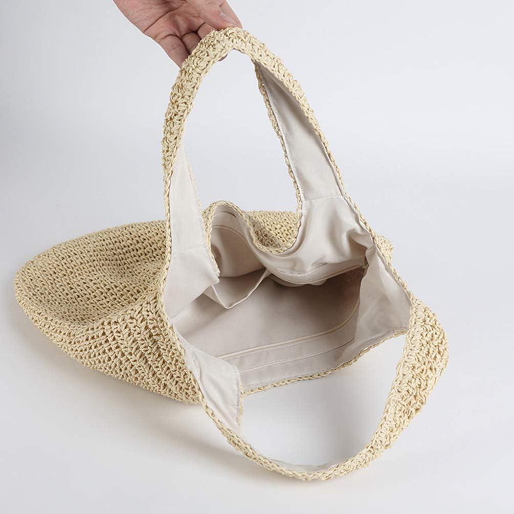 KESYOO Women Handcraft Tote Bag Natural Chic Straw Bag Hand-Woven Crochet Handbag Casual Shoulder Bag Hobo Bag (Beige)