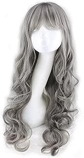 BERON 26'' Fashion Women Girls Milk Grey Long Curly Soft Wave Cosplay Wig with Wig Cap