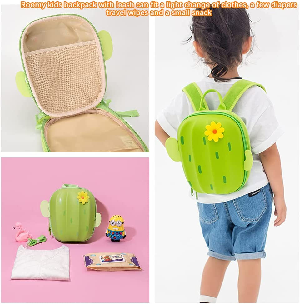 Unisex Backpack with Leash for Toddler,Cactus Backpack for Children Daycare(Green)