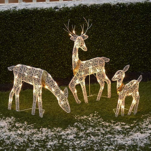 The Lakeside Collection 3-Pc. Lighted Deer Family - Outdoor Christmas, Winter Decoration for Front Yards